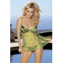 ANIMAL PRINTED CHARMEUSE AND NET BABYDOLL